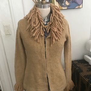 2 FREE PEOPLE BLACK AND TAN FRINGED CARDIGAN